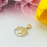 Real Gold 2 Color Tree Pendant 1504 - 18k Gold Jewelry