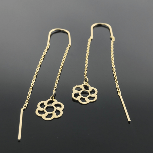Real Gold Flower Hanging Earring Set 002 - 18k Gold Jewelry