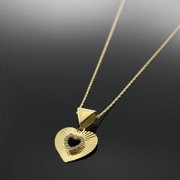 Real Gold Lined Stone Heart Necklace - 18k Gold Jewelry
