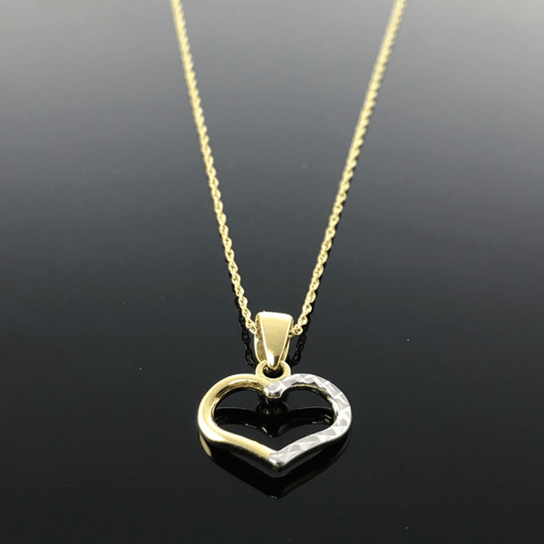 Real Gold 2 Color Heart Necklace - 18k Gold Jewelry
