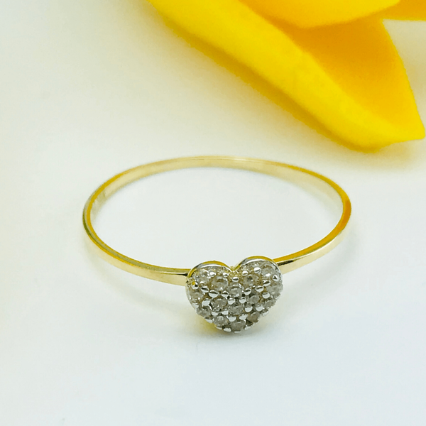 Real Gold Heart Stone 419 Ring  (SIZE 6) - 18k Gold Jewelry