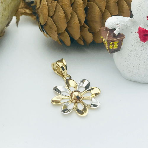 Real Gold 3 Color Flower Pendant 498
