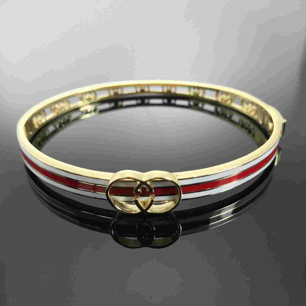 Real Gold W+R Bangle - 18k Gold Jewelry