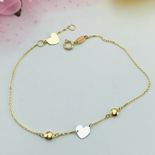 Real Gold 2 Color Heart Bracelet 1503 - 18k Gold Jewelry