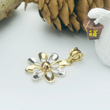 Real Gold 3 Color Flower Pendant 498 - 18K Gold Jewelry