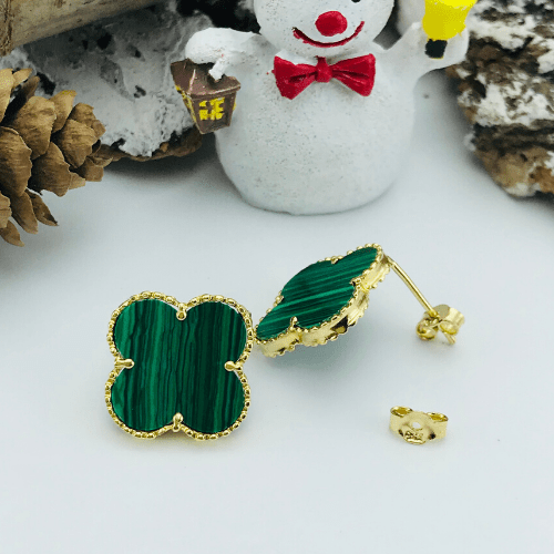 Real Gold Green VC Earring Set 1001 - 18k Gold Jewelry