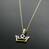 Real Gold 2 Color Crown Necklace - 18K Gold Jewelry