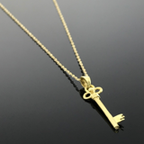 Real Gold Chain With Gold Long Key Pendant - 18K Gold Jewelry