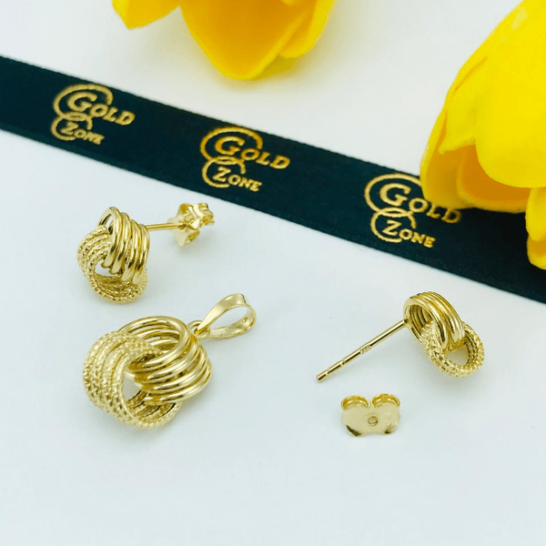 Real Gold 4 Ring Earring Set With Pendant