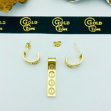 Real Gold CR Earring Set With Pendant - 18K Gold Jewelry