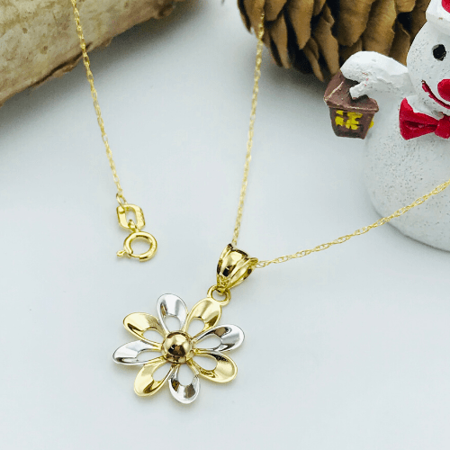Real Gold 3 Color Flower Necklace 498