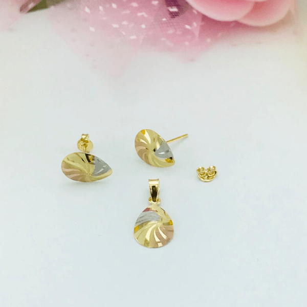 Real Gold Fine Drop 3C Fan Earring Set With Pendant 2020