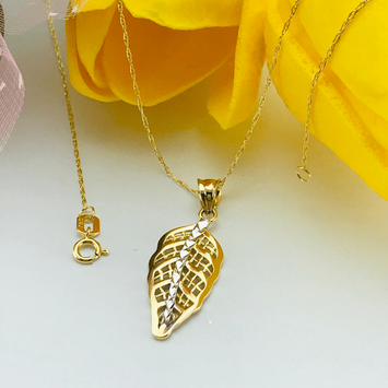 Real Gold 2 Color Leaf Necklace 0642 - 18K Gold Jewelry