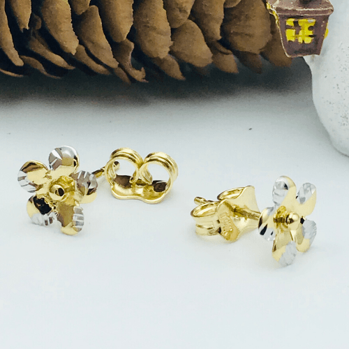 Real Gold 2 Color Flower Earring Set 018 - 18k Gold Jewelry