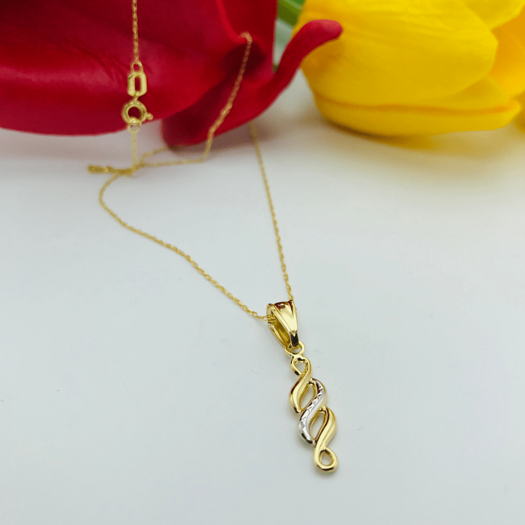 Real Gold 2 Color Twisted Necklace - 18k Gold Jewelry