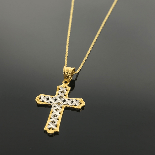 Real Gold 2 Color Cross Necklace - 18k Gold Jewelry