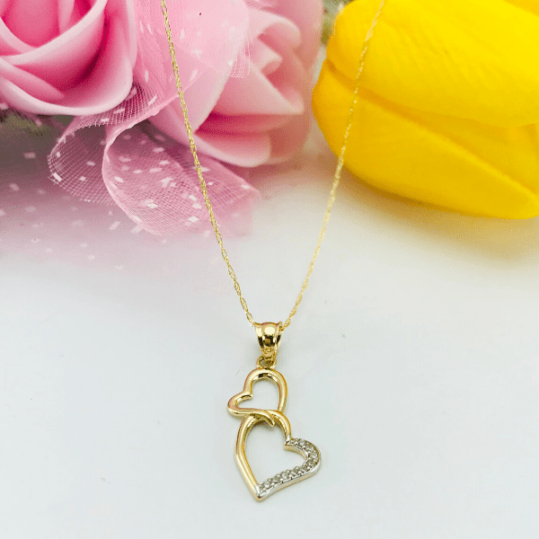 Real Gold 2 Heart Necklace 2089 - 18K Gold Jewelry