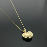Real Gold 3D Half Glittering Heart Necklace - 18k Gold Jewelry