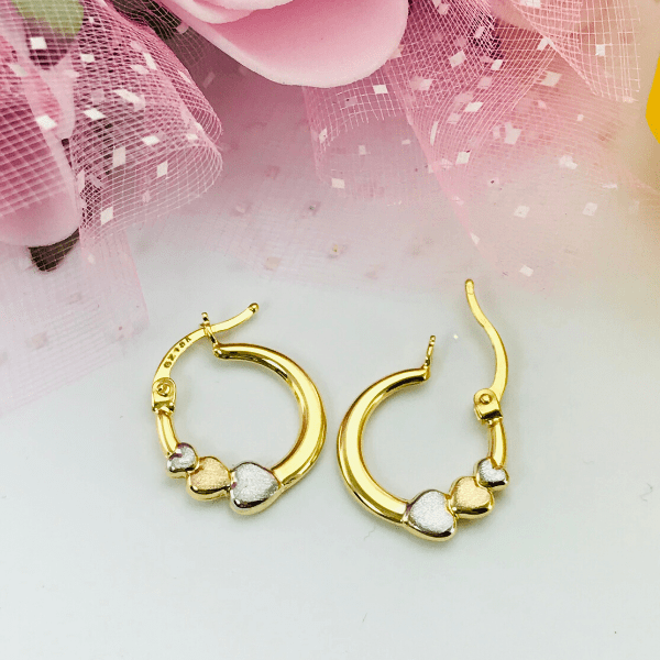 Real Gold 3 Color Heart Earring Set 1582 - 18k Gold Jewelry
