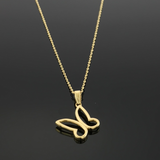 Real Gold Chain With Gold Hollow Side Hook Butterfly Pendant - 18K Gold Jewelry