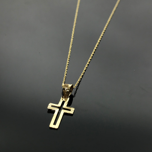 Real Gold Hollow Line Cross Necklace - 18k Gold Jewelry