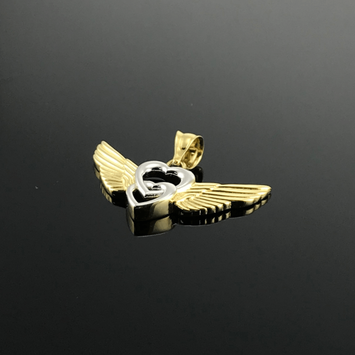 Real Gold 2 Color Wings Pendant - 18K Gold Jewelry