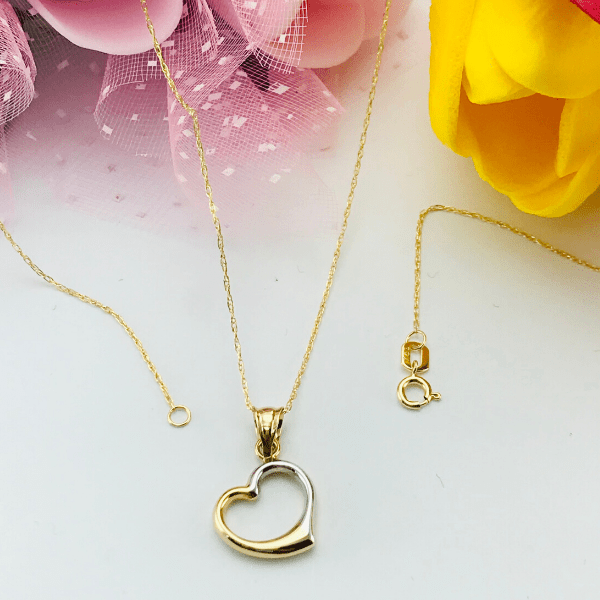 Real Gold 2 Color 3D Heart Necklace 1147 - 18K Gold Jewelry