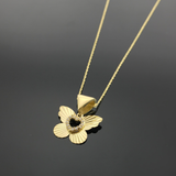 Real Gold Lined Butterfly Necklace 002 - 18k Gold Jewelry