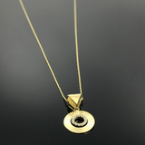 Real Gold Round Lined Stone Necklace - 18k Gold Jewelry