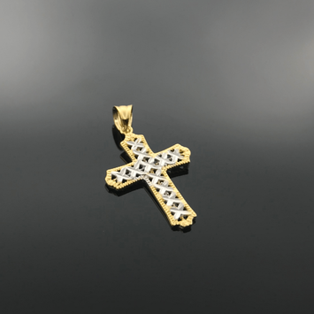 Real Gold 2 Color Cross Pendant - 18K Gold Jewelry