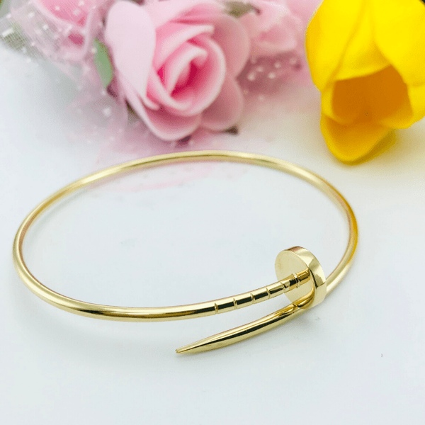 Real Gold CR Plain Nail Bangle-B