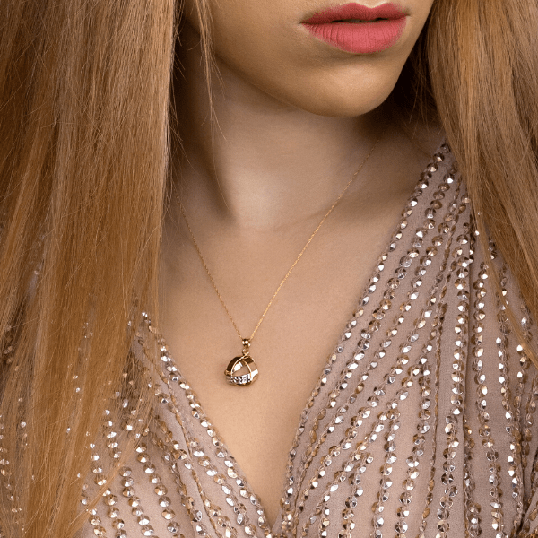 Real Gold Chain With Small 3D Heart Pendant