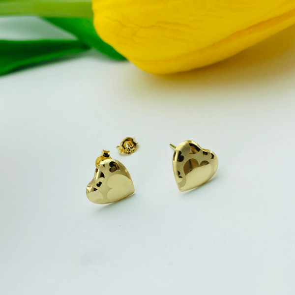 Real Gold Fine Heart G Love Earring Set - 18k Gold Jewelry