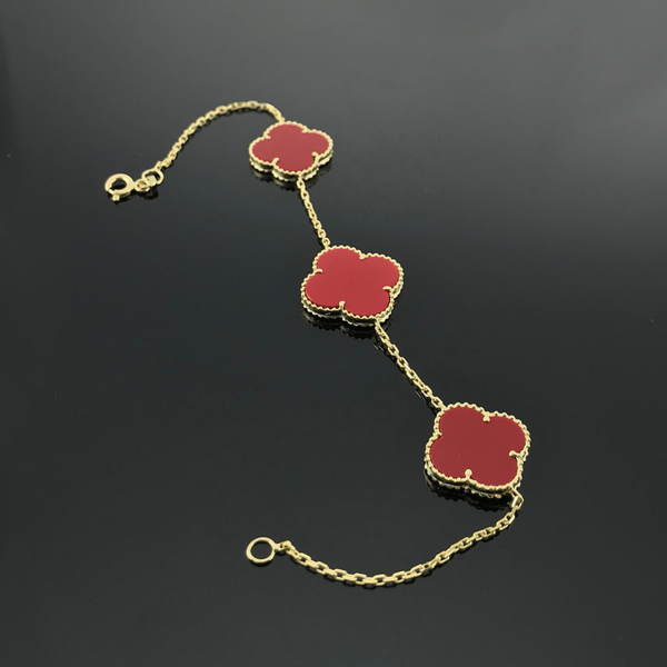 Real Gold 2+1 VC Red Bracelet - 18k Gold Jewelry