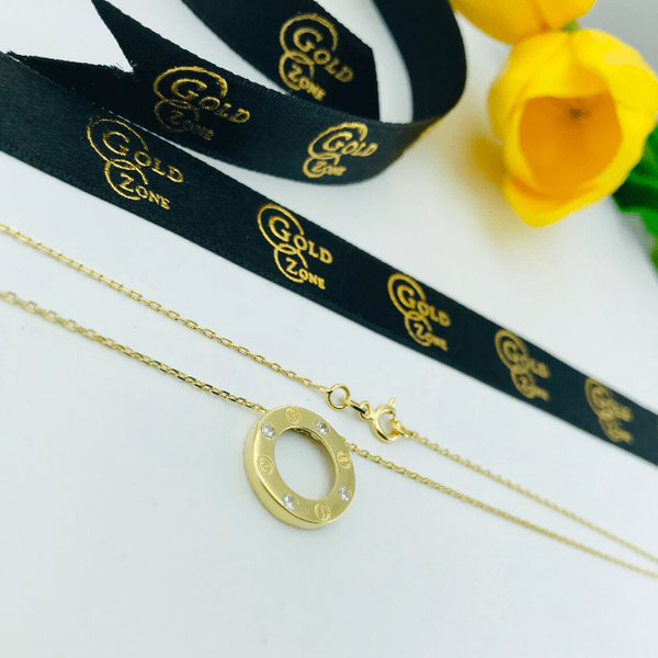 Real Gold CR 4 Stone Round Necklace