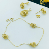 Real Gold 4 Ring Earring Set With Pendant + Bracelet - 18K Gold Jewelry