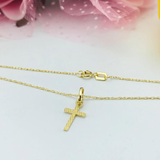 Real Gold Flat Small Cross Necklace 2020 - 18k Gold Jewelry