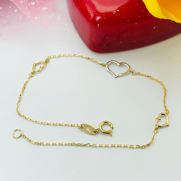 Real Gold 3 Color Heart Bracelet 1746 - 18K Gold Jewelry