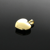 Real Gold Smooth 3D Heart Pendant - 18K Gold Jewelry