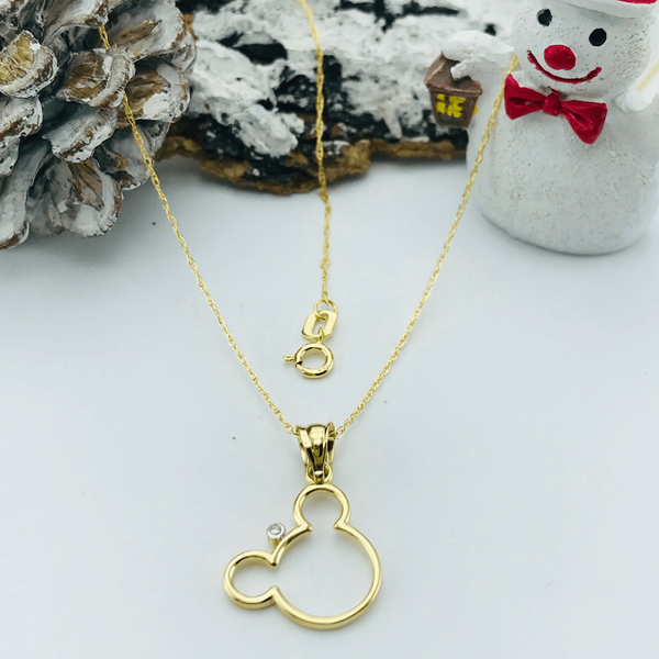 Real Gold Mickey Necklace 640 - 18k Gold Jewelry
