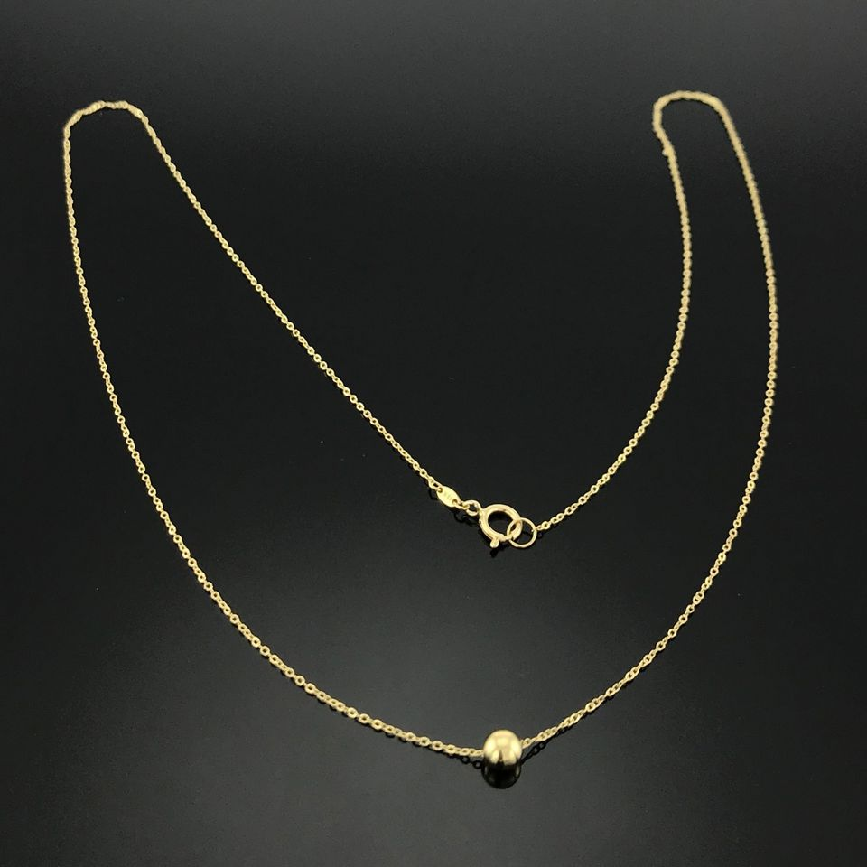 Real Gold Thin Movable Seed Necklace N1078