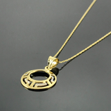 Real Gold 2C Maze Hoop Necklace - 18K Gold Jewelry