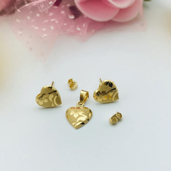 Real Gold Fine Heart Flower Leaf Earring Set With Pendant 2020 - 18K Gold Jewelry