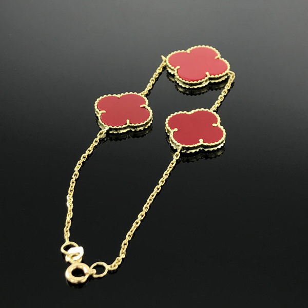 Real Gold 3 VC Red Bracelet - 18k Gold Jewelry