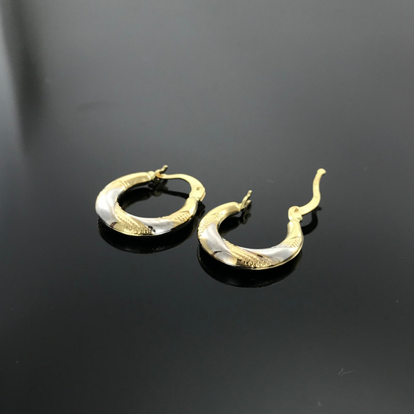 Real Gold 2C Twisted Moon Earring Set - 18k Gold Jewelry
