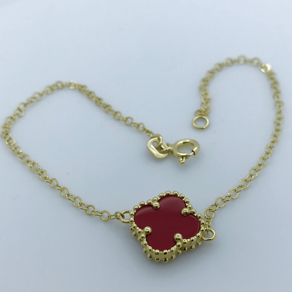 Real Gold 1VC Red Bracelet - 18k Gold Jewelry