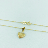 Real Gold 1 Side Fine Heart Triangle Necklace CWP1524