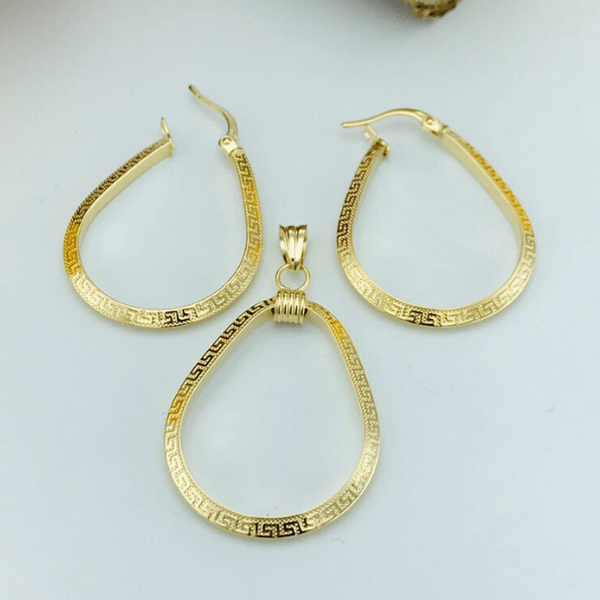 Real Gold Oval Maze Hoop Earring Set With Pendant 2020