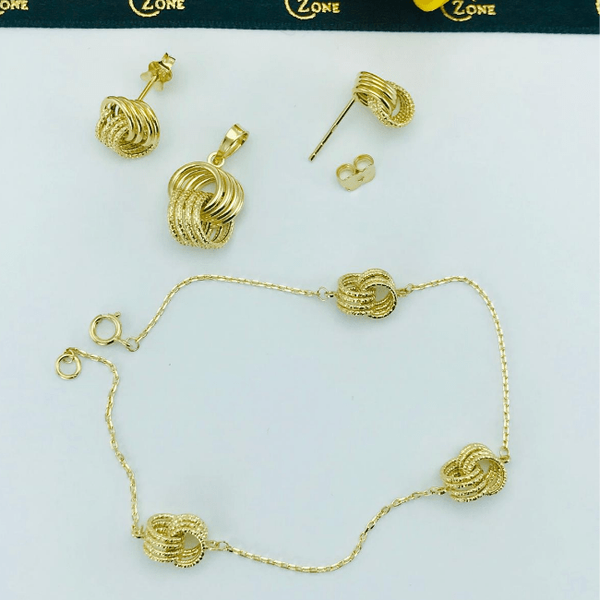 Real Gold 4 Ring Earring Set With Pendant + Bracelet