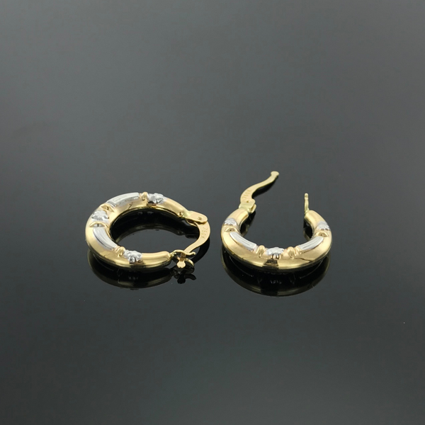 Real Gold 2C Moon Earring Set 002 - 18k Gold Jewelry